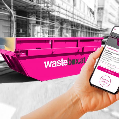Jetzt auch über unseren Online-Shop wastebox.at rund um die Uhr Ihre Mulde bestellen.